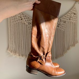 Zara Brown Leather Tall Knee Boots